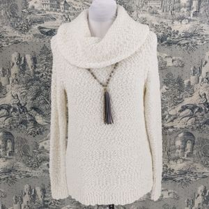 Liz Clairborne cowl neck off white sweater